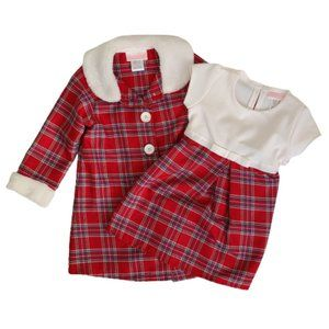 Red Plaid Holiday Dress and Coat Set
